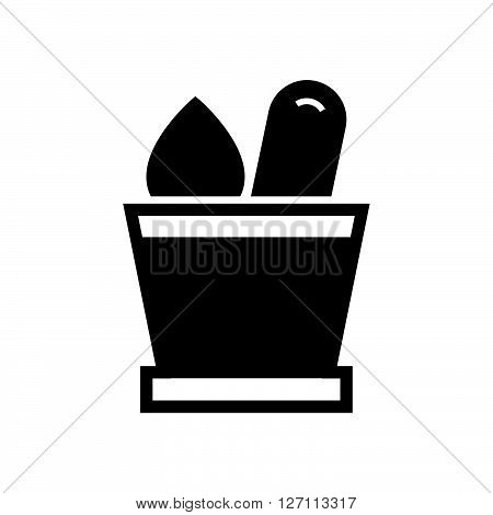 Bold Icon mortar with herbs icon support vector design  eps 10.