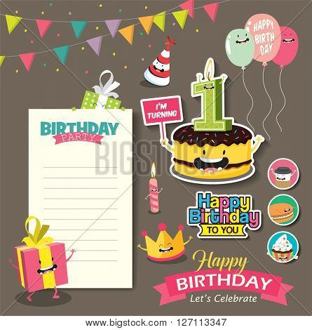 Birthday Anniversary with Funny Character & Birthday Party Template