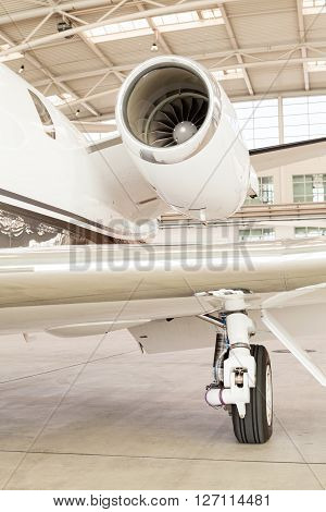 Close Up Of The Engine On A Corporate Jet