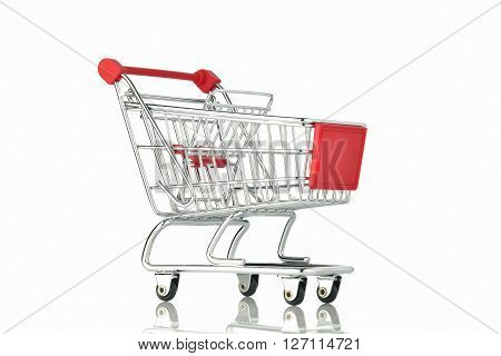 Shopping Cart on White Background Shot in Studio