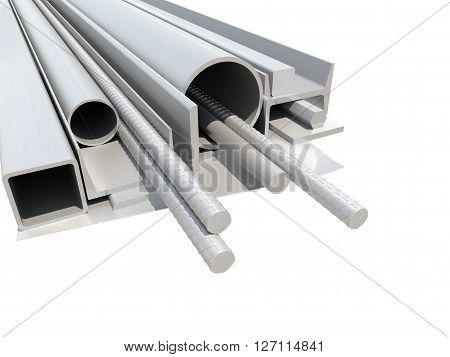 Rolled metal products. White background. 3D illustration