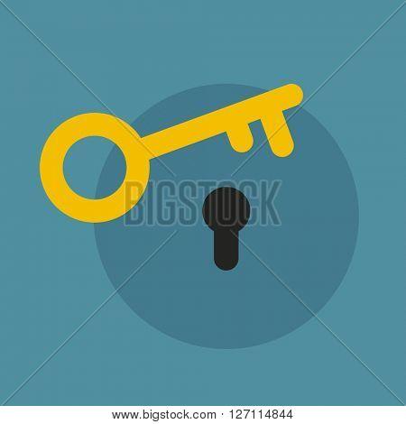 Flat key and lock icon