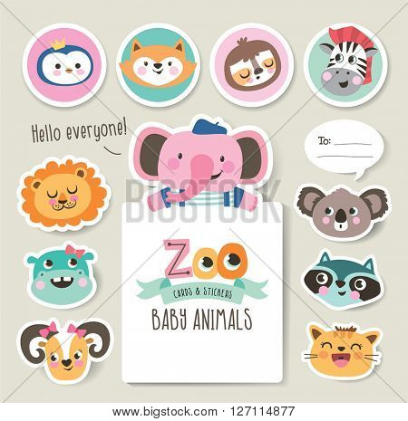 Greeting cards/ gifts/ stickers with zoo baby animals