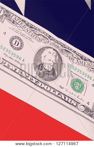 close up dollars on american flag, business concept