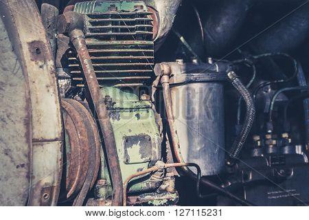 Old Motor Engine Macro  - Obsolete Industrial Machinery