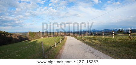 lookout from taubenberg hill hiking route in rural bavarian landscape