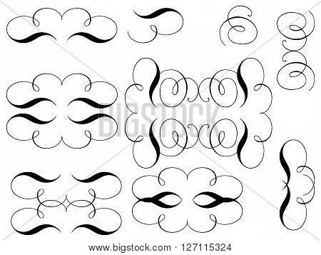 Curls Design elements. Vector set of curls..