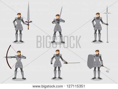 Set of six vector illustrations of medieval female knight warrior character in metal armor suit holding different weapons isolated on plain background.
