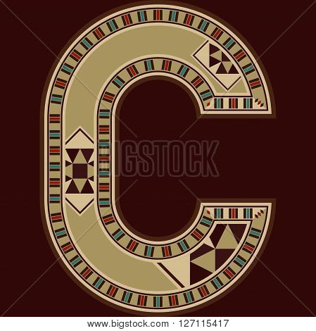 Oriental Wooden Mosaic Decorated Capital Letter C