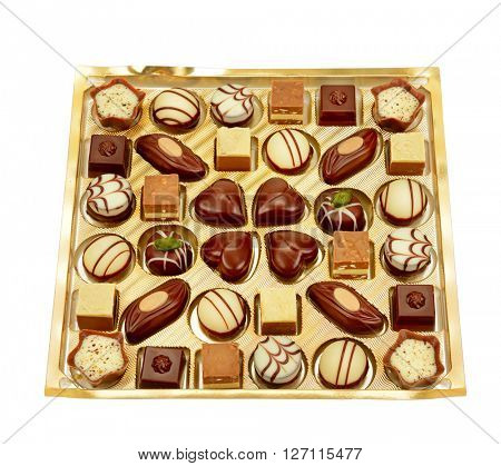 variety of chocolates in box isolated on white