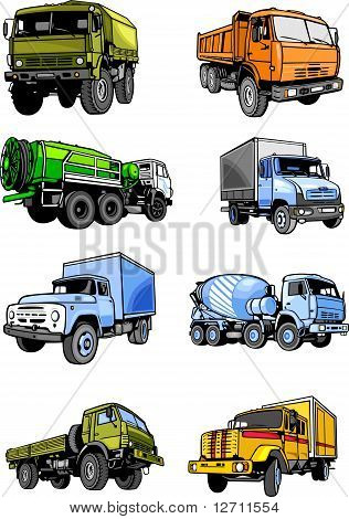 Eight lorries.