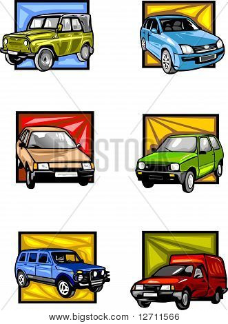 Six passenger cars in multi-coloured squares.