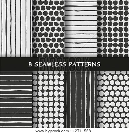 Set of eight seamless hand drawn graphic patterns with dotted and stripes in black and white colors. Polka dotted pattern. Striped background. Made in vector
