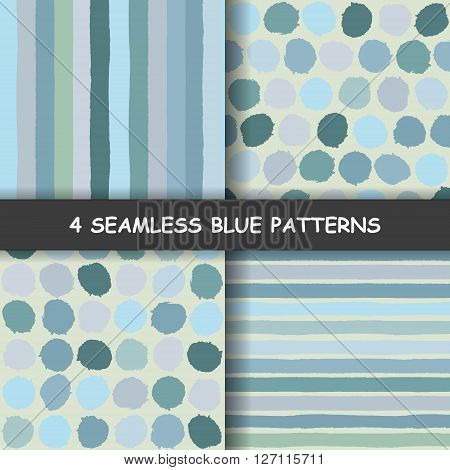 Set of four blue seamless hand drawn graphic patterns with dotted and stripes. Polka dotted pattern. Striped background. Made in vector