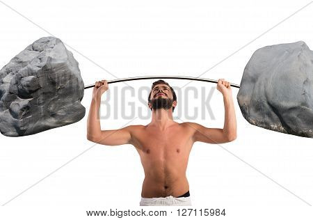 Goofy guy lifting a barbell with boulders