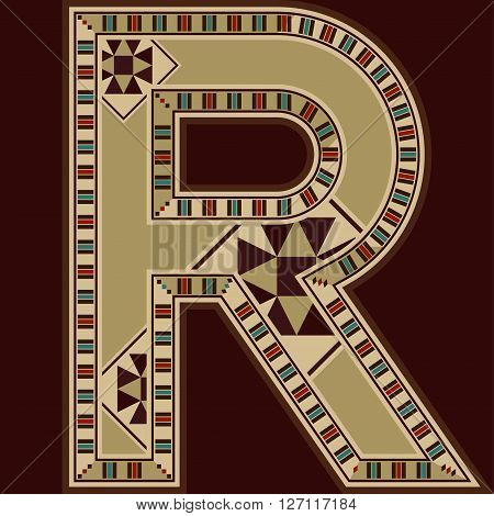 Oriental Wooden Mosaic Decorated Capital Letter R