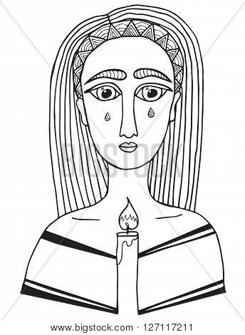 A girl with a tear on face holds a candle in hands. Pray black line girl on the white background.