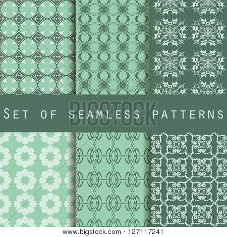 Set Of Ethnic Seamless Patterns. The Pattern For Wallpaper, Tiles, Fabrics And Designs. Vector.