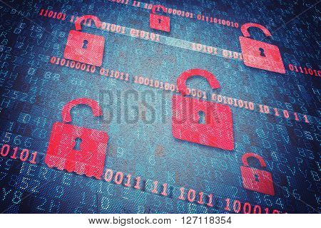 Background of open red padlocks for security