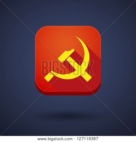 Square Long Shadow App Button With  The Communist Symbol