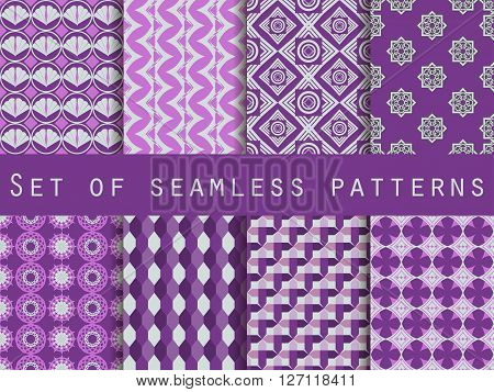 Set Of Seamless Patterns. The Pattern For Wallpaper, Tiles, Fabrics And Designs. Vector.