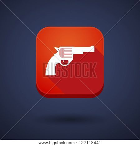 Square Long Shadow App Button With A Gun