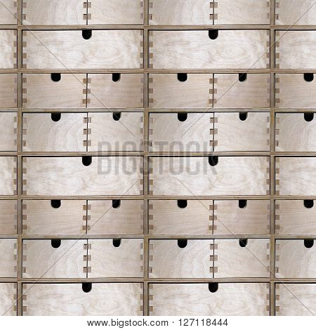 Seamless pattern of wooden drawers cupboard. Can be tiled endlessly