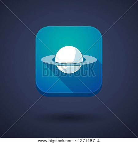 Square Long Shadow App Button With The Planet Saturn