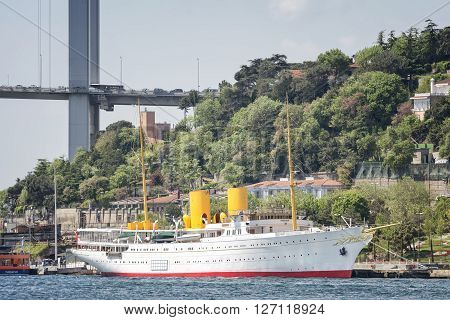 ISTANBUL,TURKEY, APRIL 21, 2016: The MV Savarona is the Presidential yacht of the Republic of Turkey reserved for the use of the President of Turkey. She was the largest in the world in 1931.