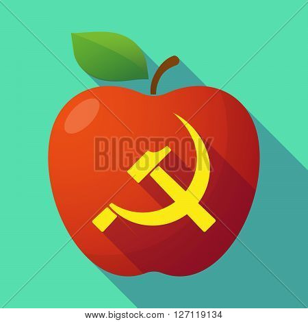 Long Shadow Red Apple With  The Communist Symbol