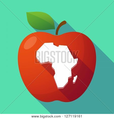 Long Shadow Red Apple With  A Map Of The African Continent