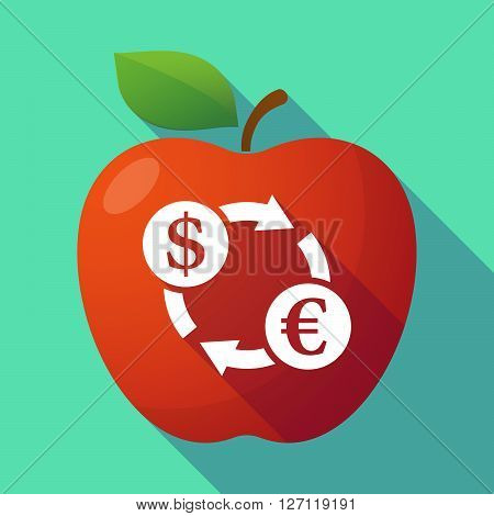 Long Shadow Red Apple With A Dollar Euro Exchange Sign
