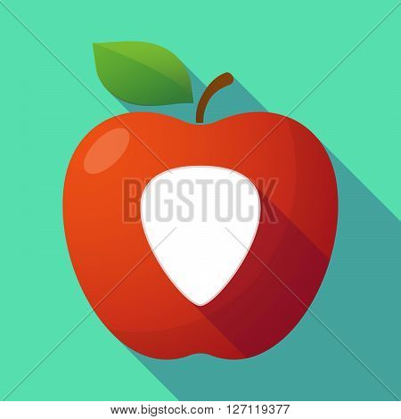 Long Shadow Red Apple With A Plectrum