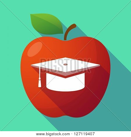 Long Shadow Red Apple With A Graduation Cap
