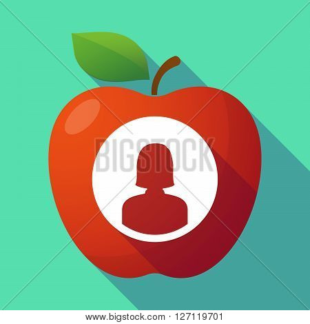 Long Shadow Red Apple With A Female Avatar