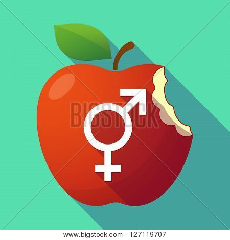 Long Shadow Red Apple With A Bigender Symbol