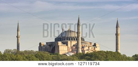 ISTANBUL, TURKEY, APRIL 23, 2016: Exterior shot of Hagia Sophia, former famous Orthodox church and a mosque, open as a museum today.
