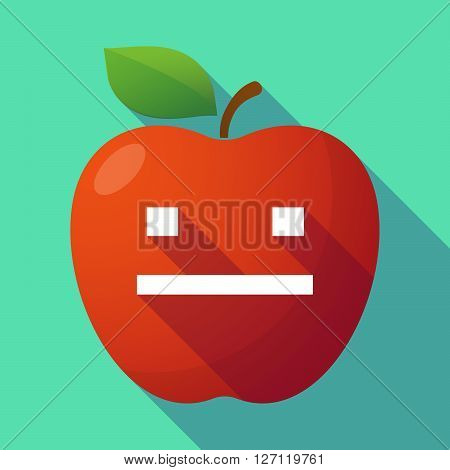 Long Shadow Red Apple With A Emotionless Text Face