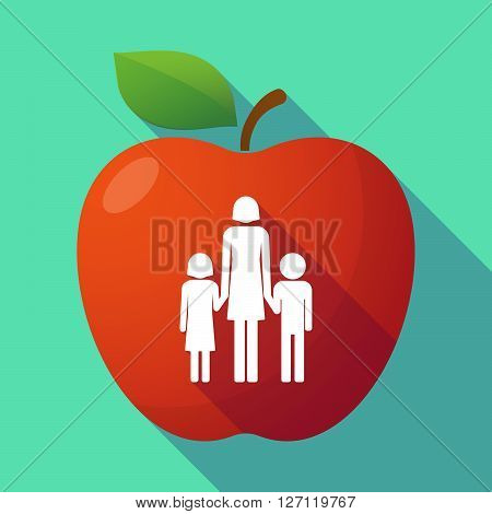 Long Shadow Red Apple With A Female Single Parent Family Pictogram
