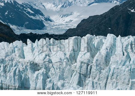 Up close view of Margerie Glacier at Glacier bay national park in Southeast Alaska