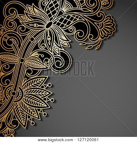 Vector background with gold floral pattern and place for text for greeting or invitation card.
