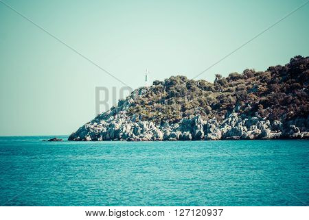 Sea landscape with mountains. Seascape on a sunny day. Summer seascape