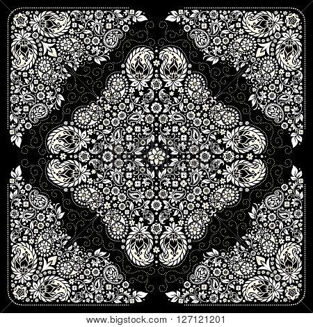 Vector ornament paisley Bandanna Print, silk neck scarf or kerchief square pattern design style for print on fabric.