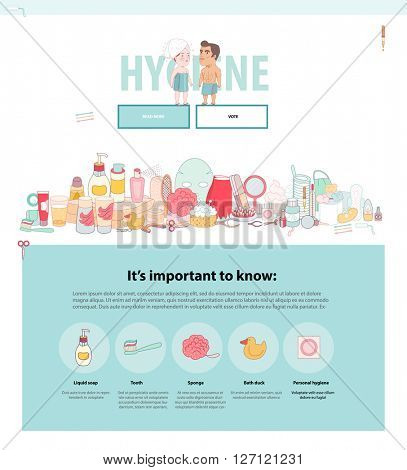 Hygiene web template, flat cartoon vector illustrated set, a man and a red hired woman wrapped into the towels and a pack of hygiene elements