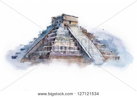 pyramid Chichen Itza in Mexico watercolor drawing. Temple of Kukulkan aquarelle painting.