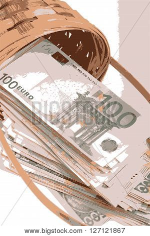 european money on wooden basket, business concept