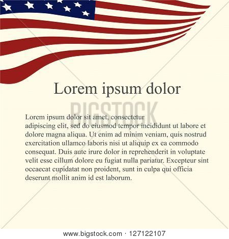 American flag background. Red, blue, white flag on light pink background, grey Lorem ipsum, vector