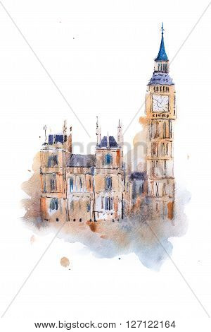 watercolor drawing Westminster Palace in London. Aquarelle painting Houses of Parliament, Big Ben.