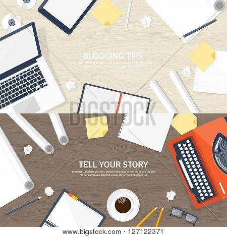 Vector illustration.  Flat typewriter.Laptop. Tell your story. Author. Blogging.Wooden texture, wood.