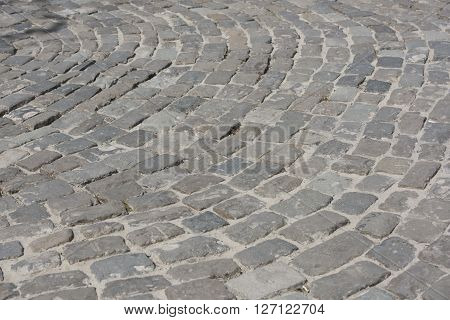 Cobbles on the waterfront in Rostov-on-Don. Laying did fascist German prisoners